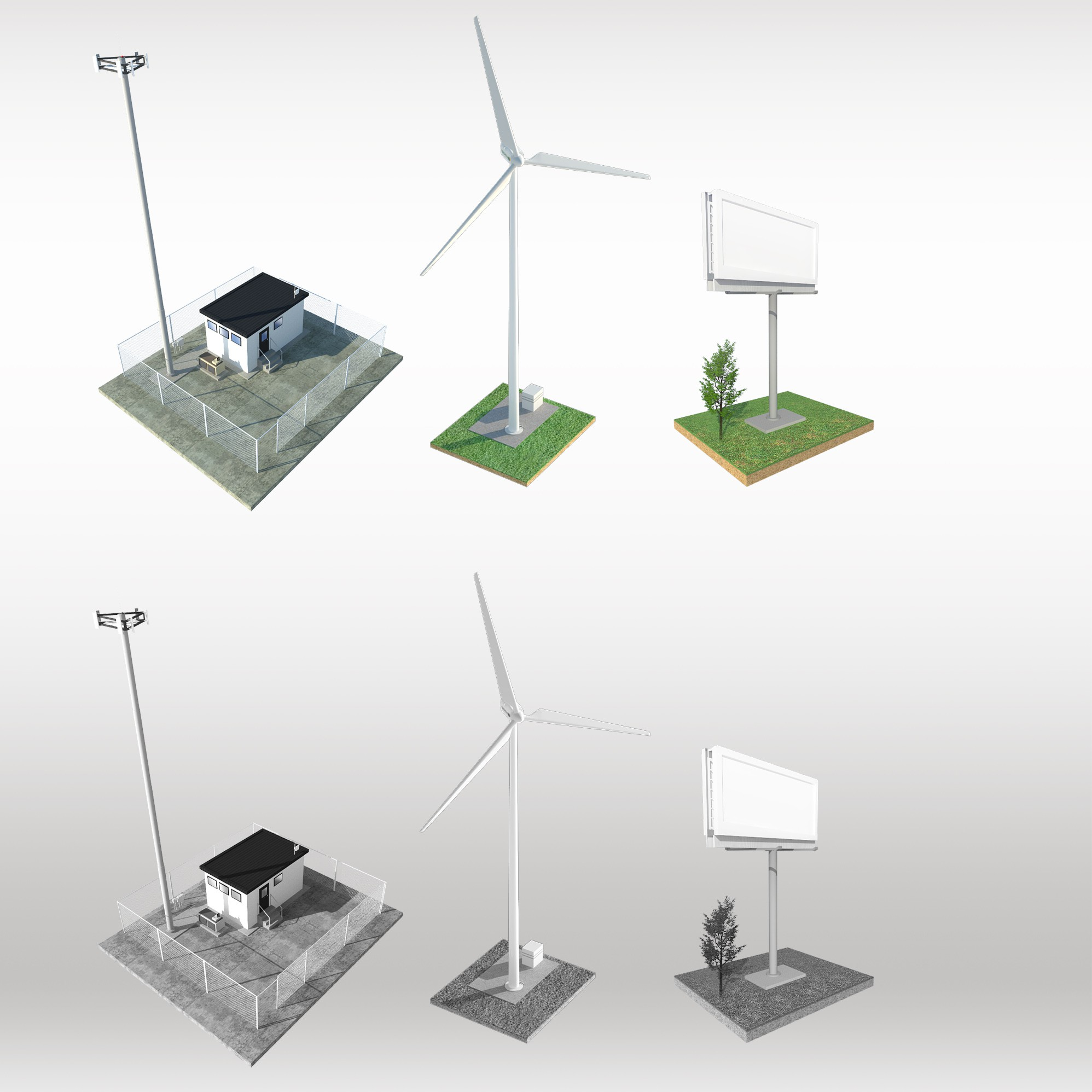 Create 3 Grey-Scale Graphics (Billboard, Cell Tower and Wind Turbine) for inclusion in a document