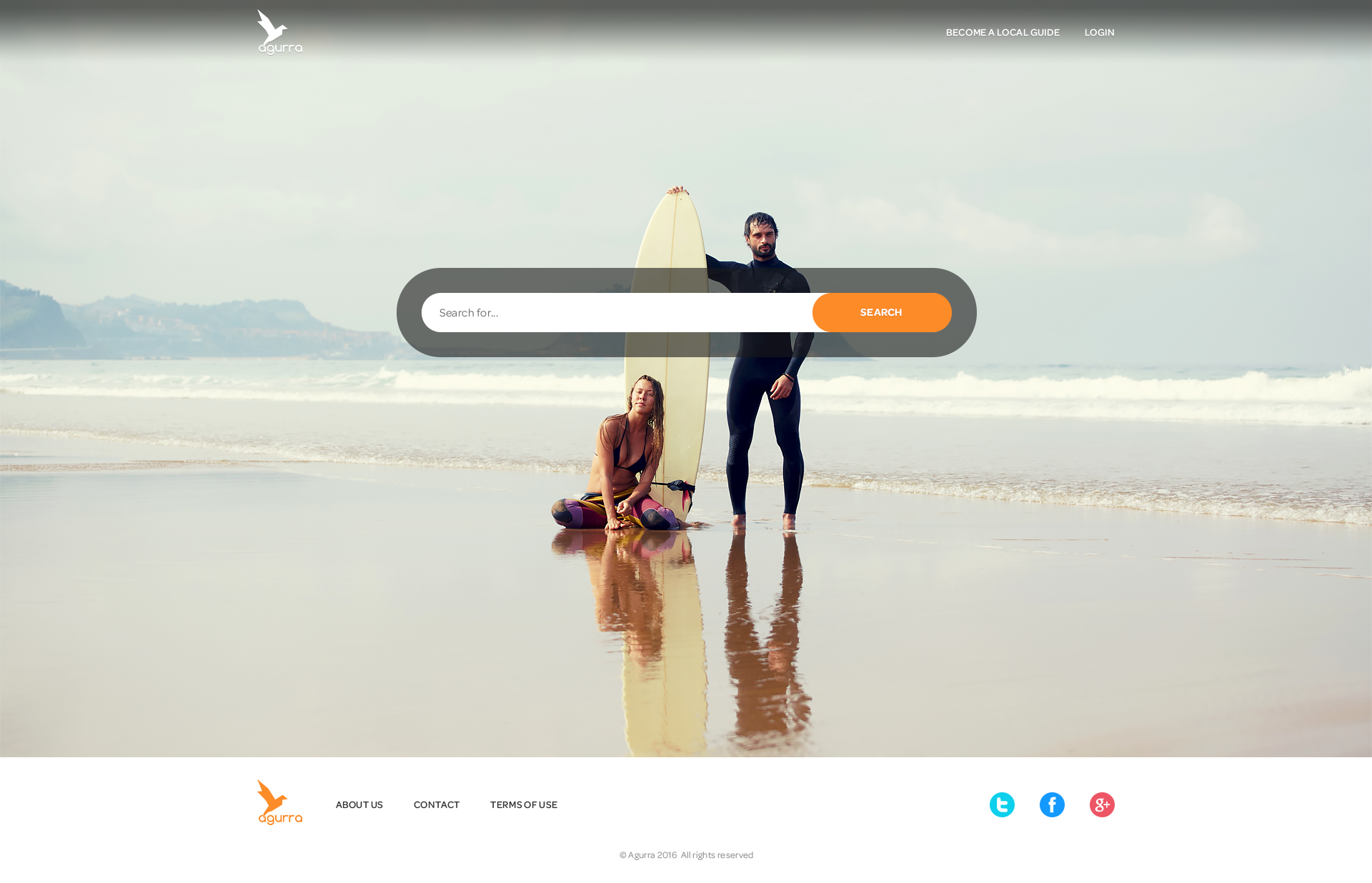 Agurra Landing Page and Become a Guide Page