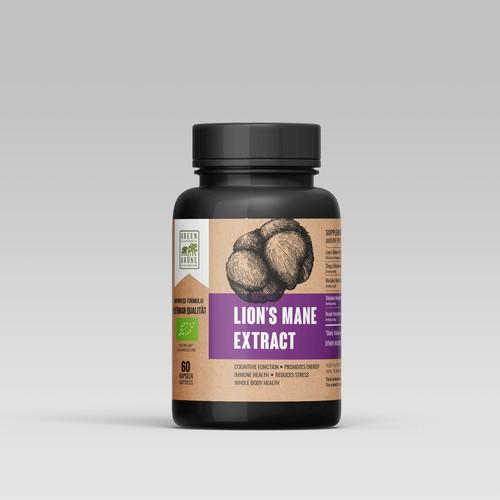 Lion's mane extract label design