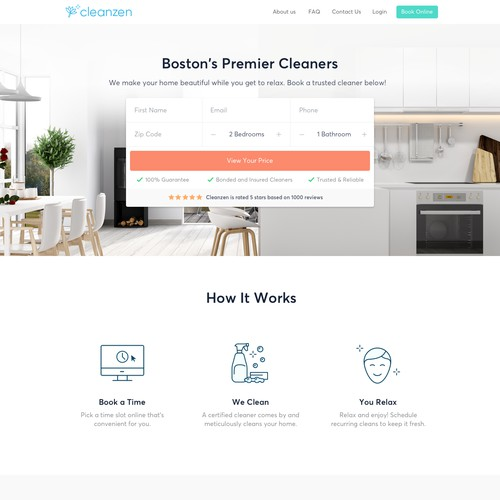Homepage for Cleaning Company