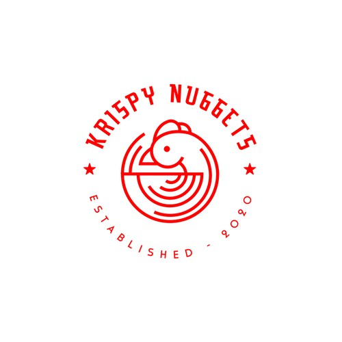 creative logo design for KRISPY NUGGETS.