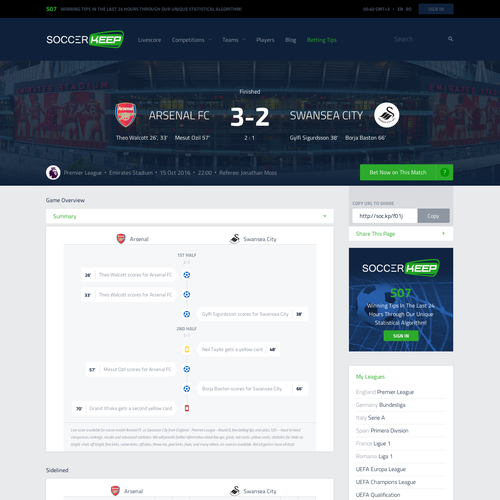 Live-score Stats Rankings Soccer Website