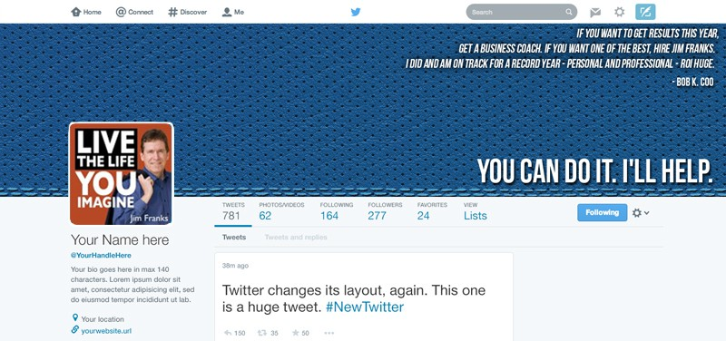 Welcoming Twitter background for a business coach.