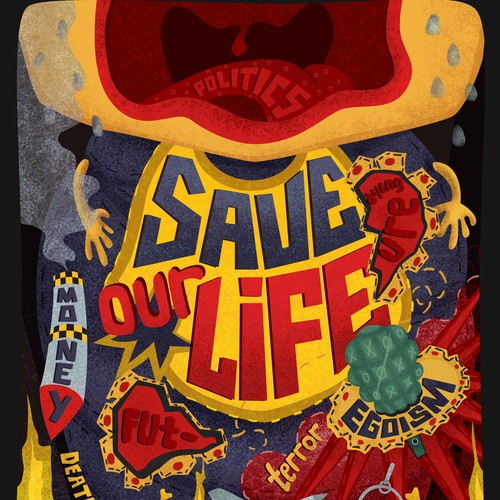"Poster illustration  ""Save our life"""