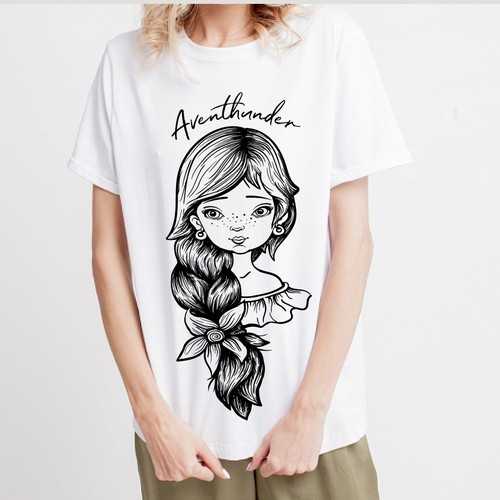 drawing on a T-shirt with a picture of a sweet girl