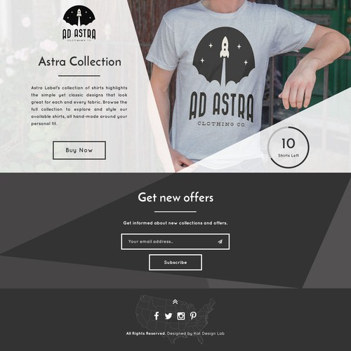 T-Shirt company landing page