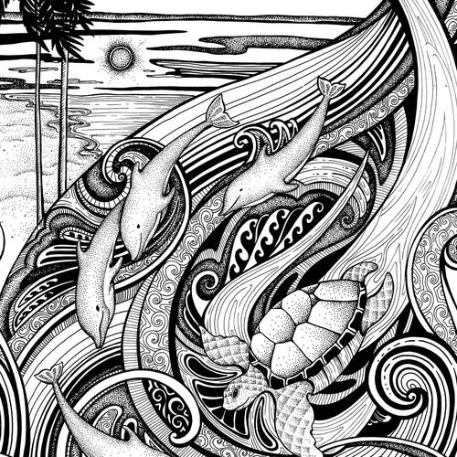 Dolphin Wave Tattoo Design