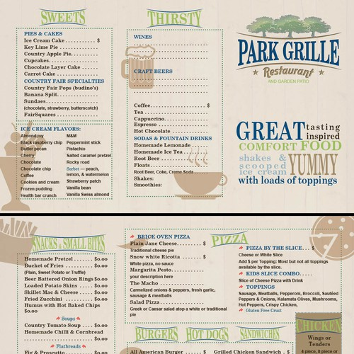 Fun, casual menu for amusement park