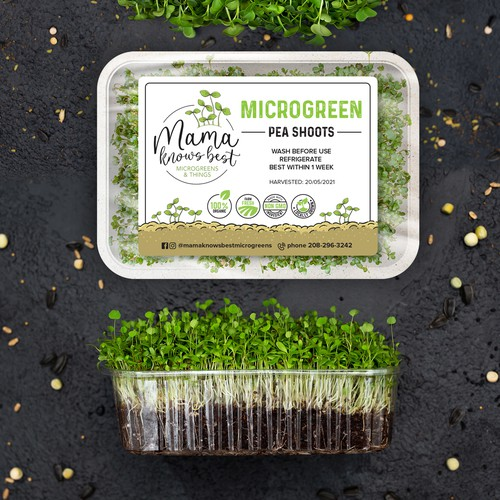 Microgreen clam shell labels