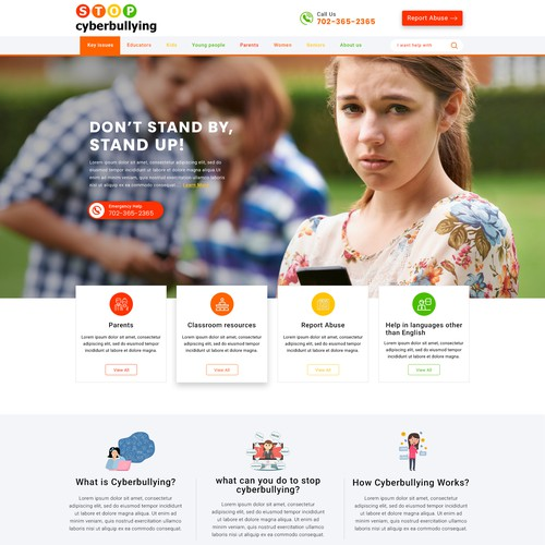 Landing Page design for stopcyberbullying.or