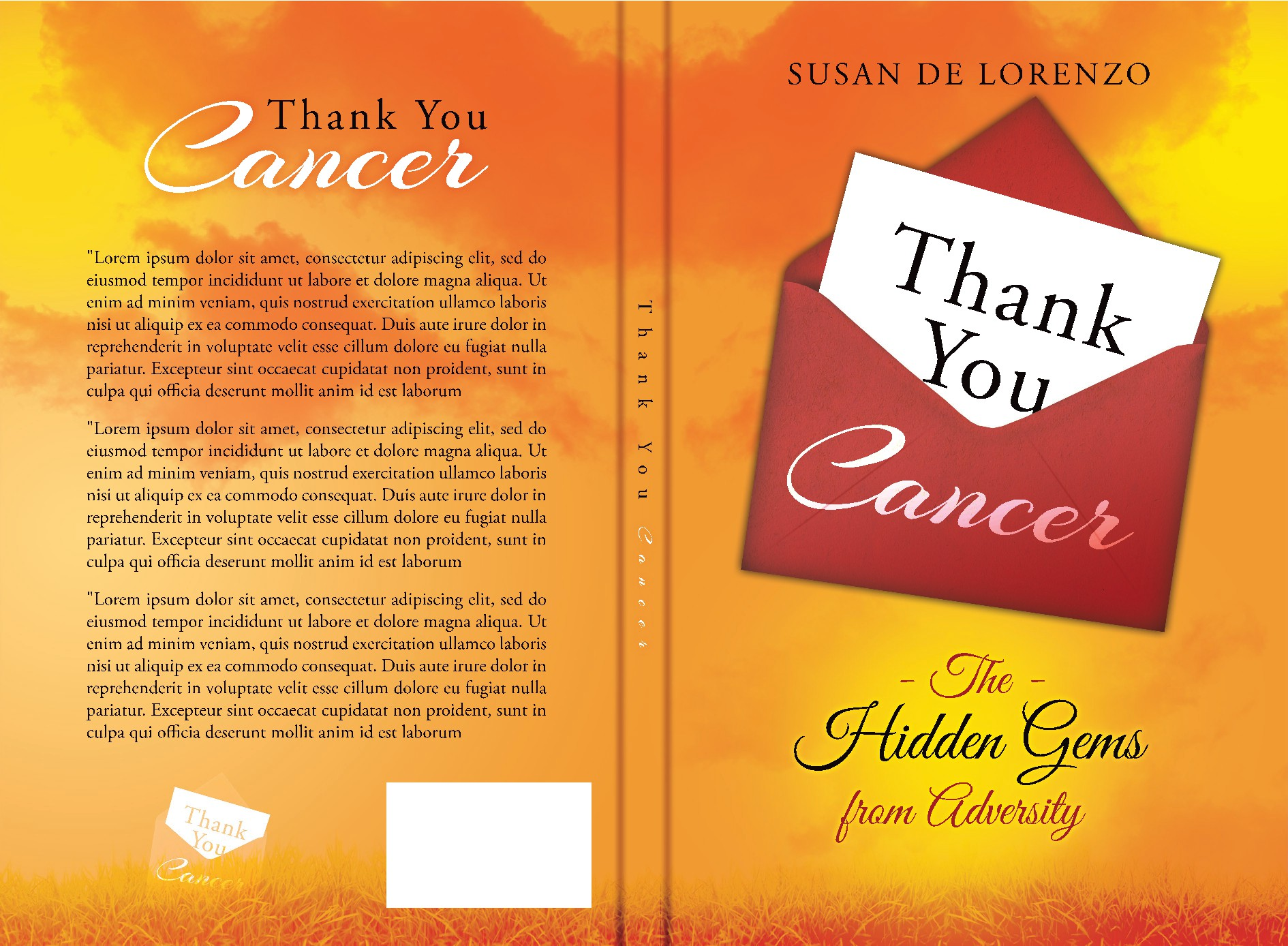 """Create captivating book cover for title """"Thank You, Cancer"""""""