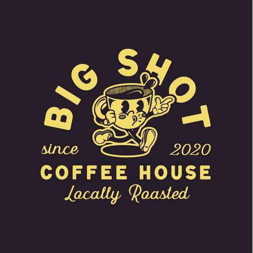 Vintage Coffee Cup Cartoon Logo
