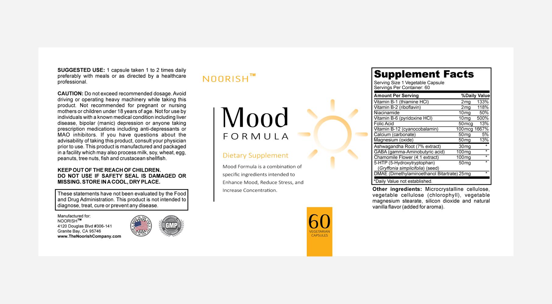 CLEAN SUPPLEMENT DESIGN for bottle label – Noorish: Mood Formula