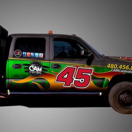 "Create a ""NASCAR"" style design of vinyl wrap for fleet vehicles!"