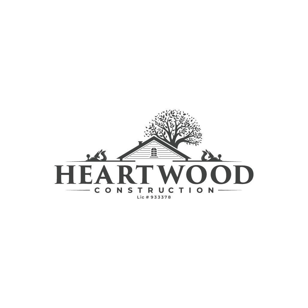 Create an inspiring logo for Heartwood Construction, a Northern California company