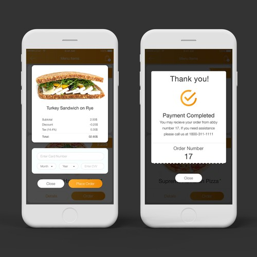 Food App Checkout screen Design