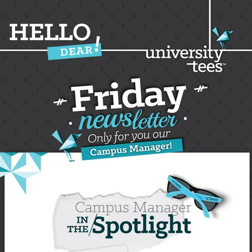 Email template for University Tees