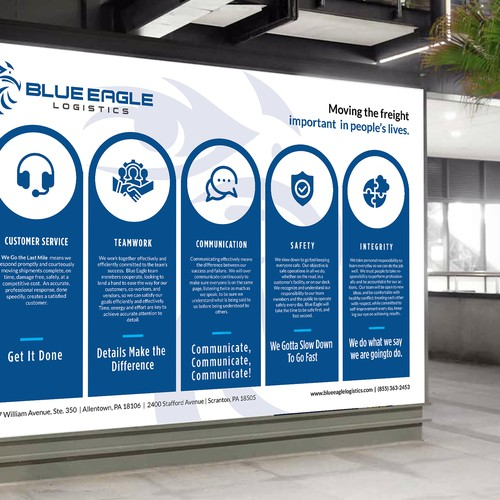 Poster for Blue Eagle Logistics Core Values Communication Program