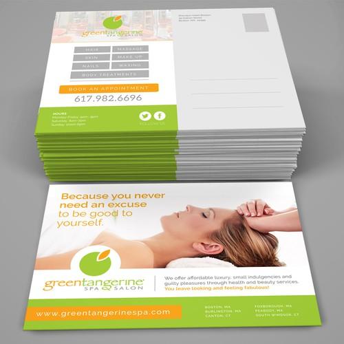 Minimalist Postcard Design for Green Tangerine Spa and Salon