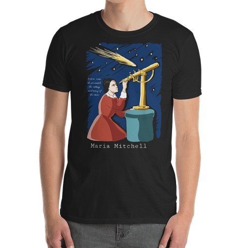 Design for a t-shirt featuring a woman of science