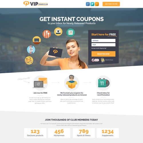 Landing page for VIP Power Club