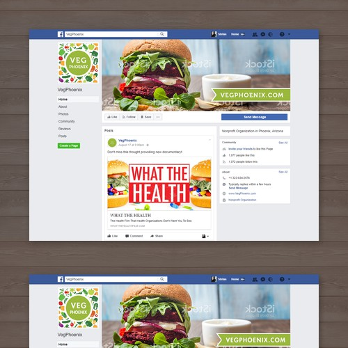 VegPhoenix Facebook cover and profile