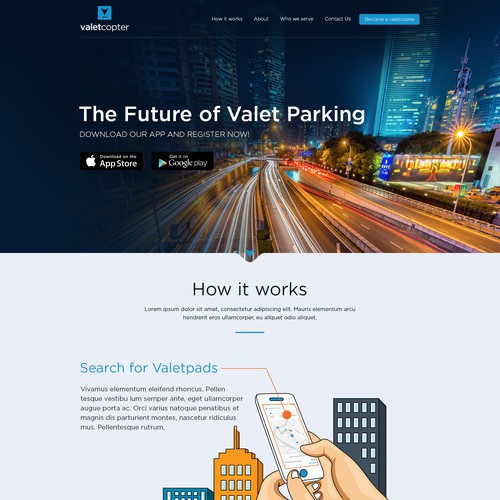 Website design with modern style.