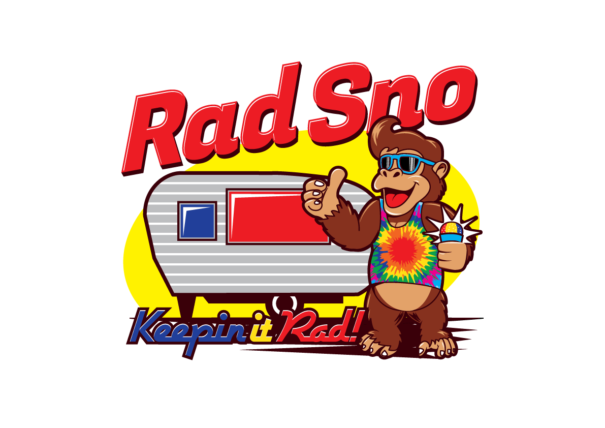 Create a Rad Sno vintage shaved ice concession trailer logo to exemplify eclectic Austin, TX spirit