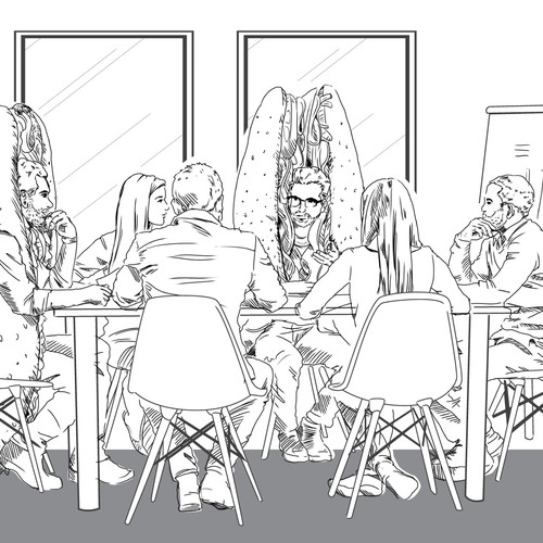 Comic sketch illustration for Quiznos