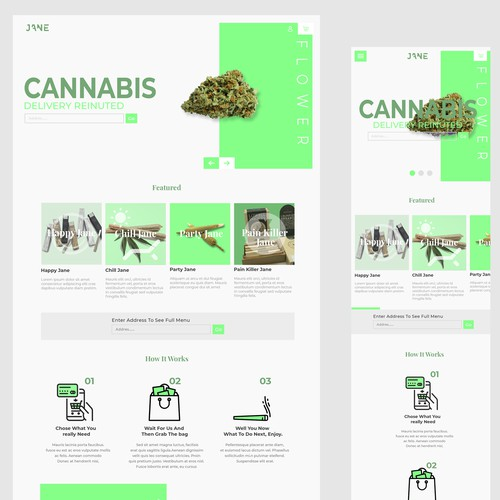 Simple website design for jane cannabis