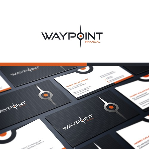 Create the next logo and business card for Waypoint Financial
