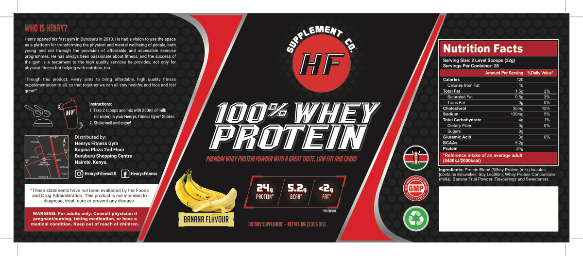 Label for a whey protein tub