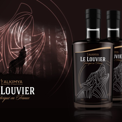 Modern label for french spirit and alcohol brand Alkimya