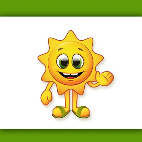 Create a winning fun cartoon sun character
