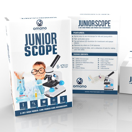Design a package for the Junior Scope, a kids microscope.