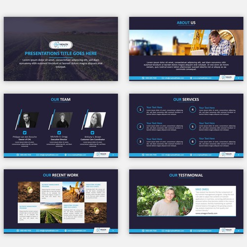 Slide deck power point template (title slide, 3-5 different designs for content slides)