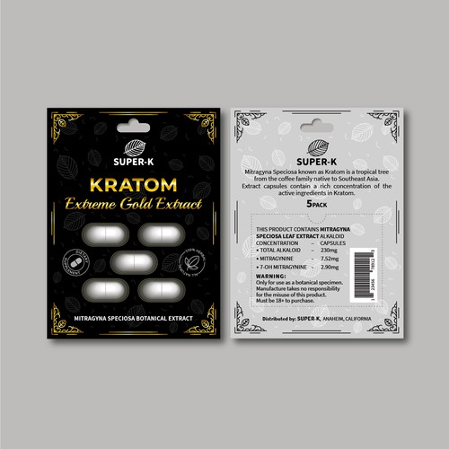 Package for Kratom extreme gold extract