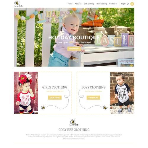 Cozy bee clothing website concept
