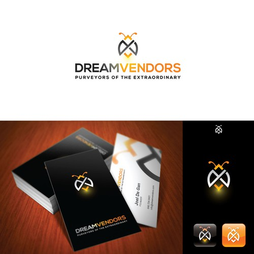 Create the next logo and business card for DreamVendors