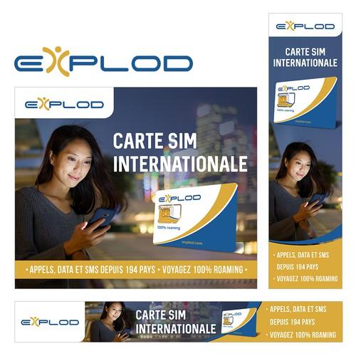Banner design for Explod Travel SIM card.
