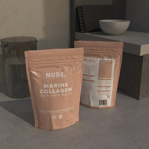 Nude Beige packaging design for a marine collagen