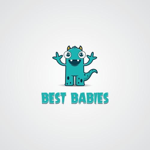 Crie um logo divertido e alegre para um site de bebê