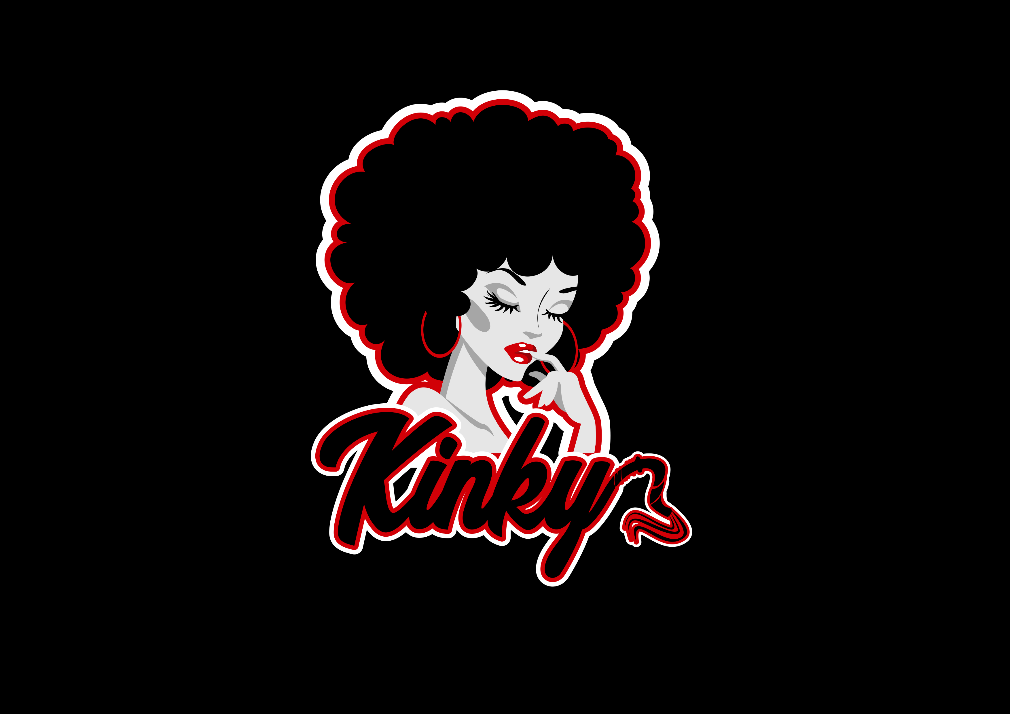 Double entendre logo of Kinky hair and Kinky sexuality!