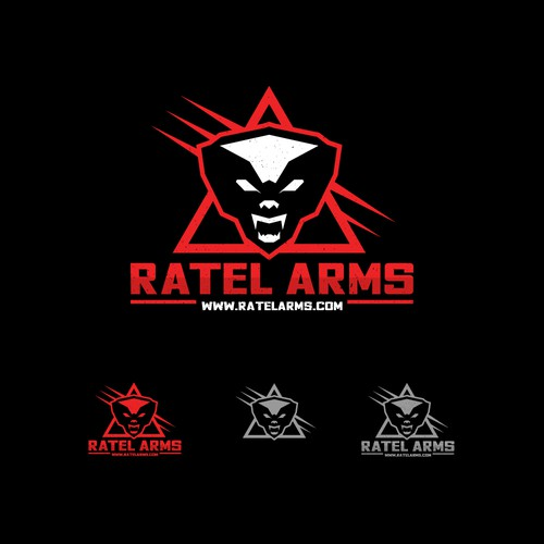 """Logo concept for """"Ratel Arms""""."""