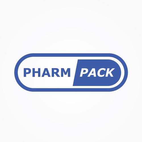 Minimalist logo for pharmatics packing company.
