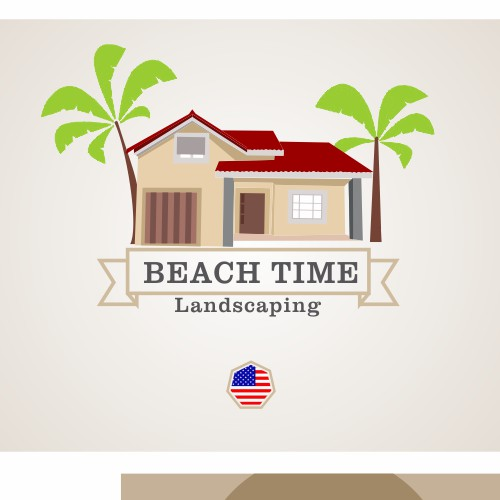 Create the next logo and business card for Beach Time Landscaping