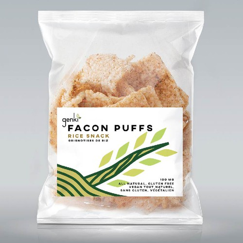 "Label Design for organic rice snack ""Facon Puffs""."