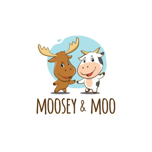 Moosey & Moo mascot concept for baby hampers logo