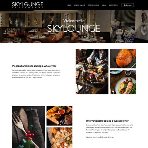 Restaurant web page for Weebly