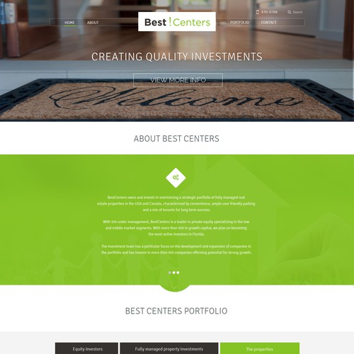 Create a professional & modern real estate investment webpage.